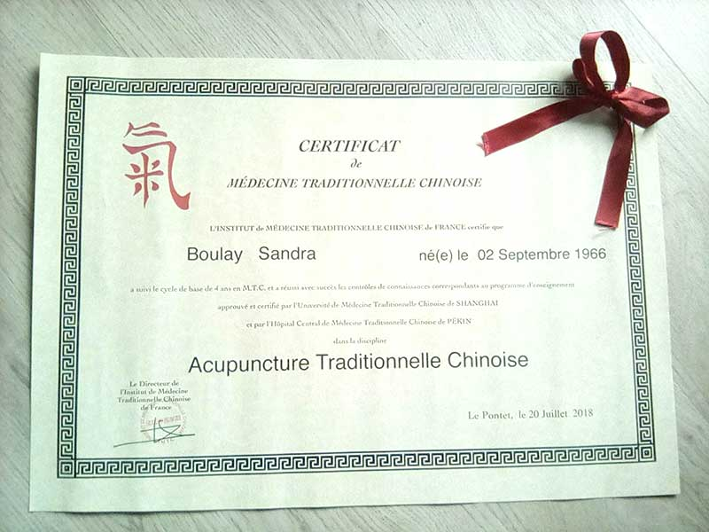 Diplôme d'acupunture traditionnelle chinoise