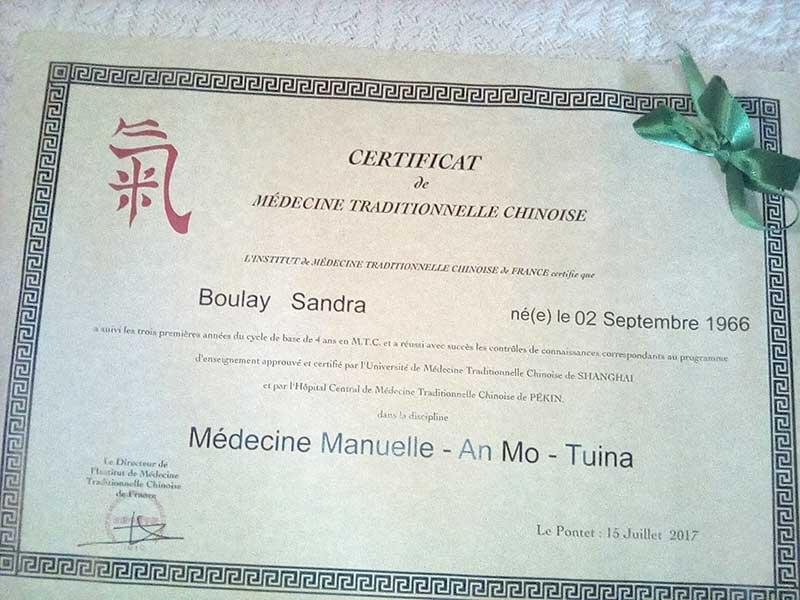 Diplôme de médecine manuelle - An Mo - Tuina
